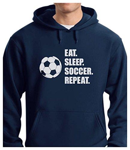 Soccer Sweatshirt - TeeStars - Eat Sleep Soccer Repeat - Best Gift for Soccer Fans Hoodie Medium Blue