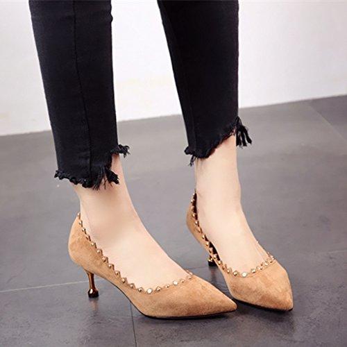FLYRCX personalidad cabeza del Zapato tacón Remache fina único Primavera otoño superficial y de Zapato y zapatos b sexy partido boca fuerte rwZrvx0BqH