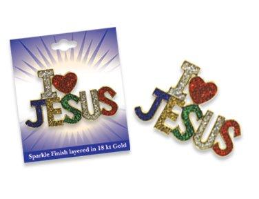 Sparkling Glittery I LOVE JESUS Pin Brooch