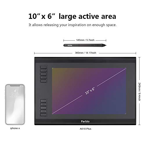 Parblo A610 Plus Drawing Tablet, 10.2 x 6.1 Inches Large Working Area Graphic Tablet, 8192 Levels Battery-Free Stylus Pen Tablet with 10 Hotkeys, Compatible with Windows Mac OS