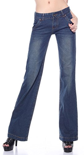 Lightweight Flare Leg Jeans (Qiuse Women's Vintage Front Zipper Flares Pants Palazzo Jean (Medium,)