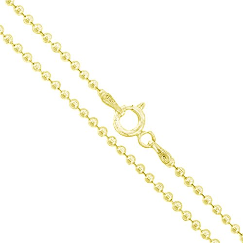 22k Yellow Gold Plated Sterling Silver Italian Ball Bead Chain 1.8mm 925 Italy New Dog Tag Necklace 22