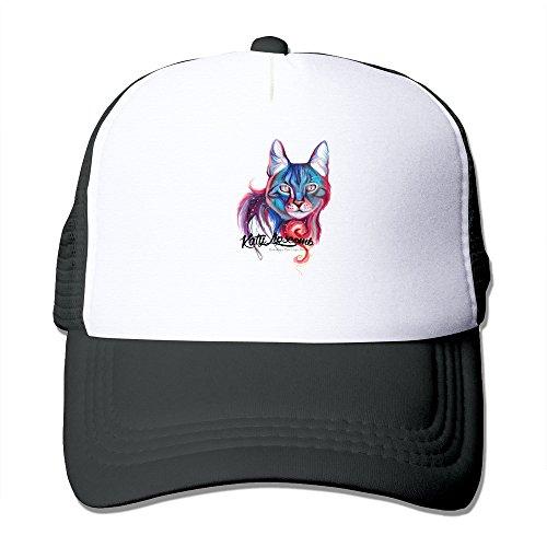 Galaxy Cat Adult Baseball Mesh Trucker Cap Black -