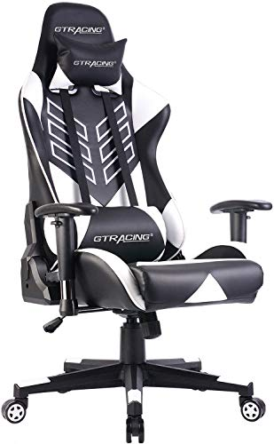 Gaming Chair Racing Office Chair PU Leather High Back Computer Desk Chair Ergonomic Swivel Chair with Headrest & Lumbar Support White
