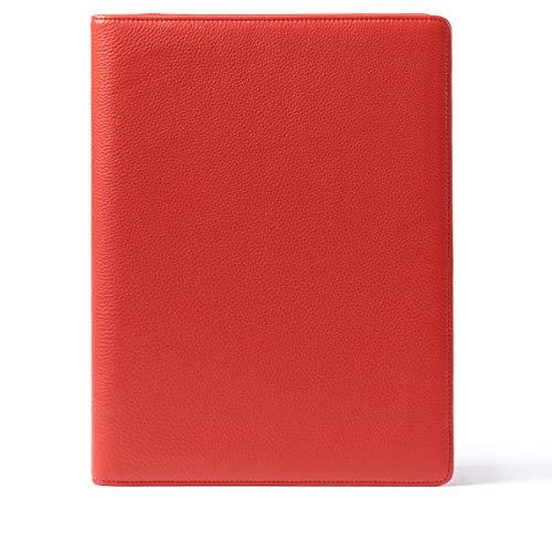- Leatherology Folder with Pockets & Pen Holder - Full Grain Leather Leather - Scarlet (red)