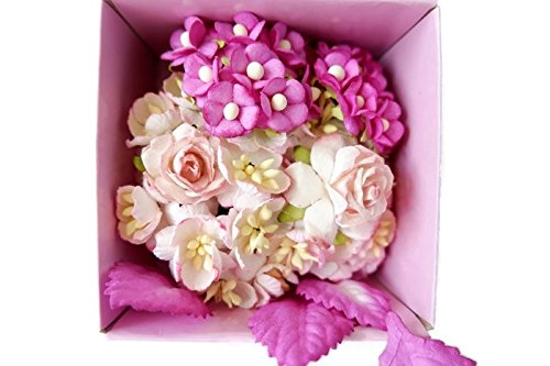 (N.18) 70 pcs Mini Rose Mixed Pink, Blue,Purple Colors Mulberry Paper Flower 25mm Scrapbooking Wedding Doll House Supplies Card by' Thai Decorated