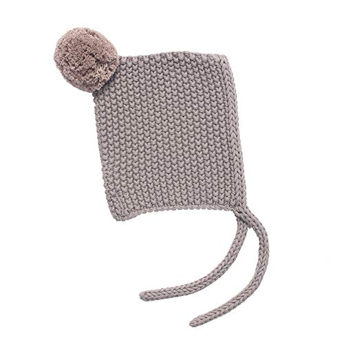 Baby Boy Girl Winter Earflap Beanie hat Warm Knit hat with Organic Cotton(3-6 Months, Smoke Gray