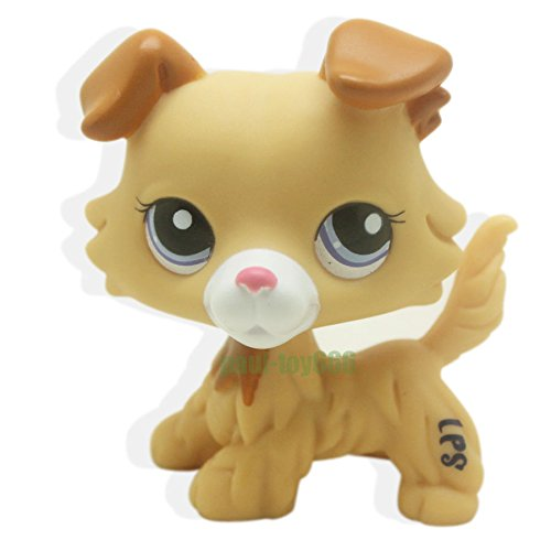 Catzaashop #2452 Rare Littlest Pet Shop Collie Dog Puppy Yellow Tan Brown Blue Eyes LPS Toy