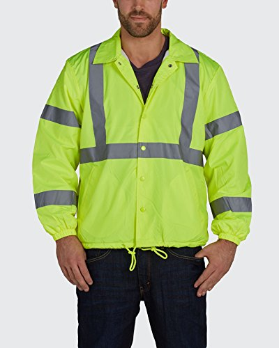 Utility Pro UHV600 Nylon Lightweight High-Vis Windbreaker with Elastic Cuff with Dupont Teflon fabric protector,  Lime,  2X-Large by Utility Pro (Image #1)