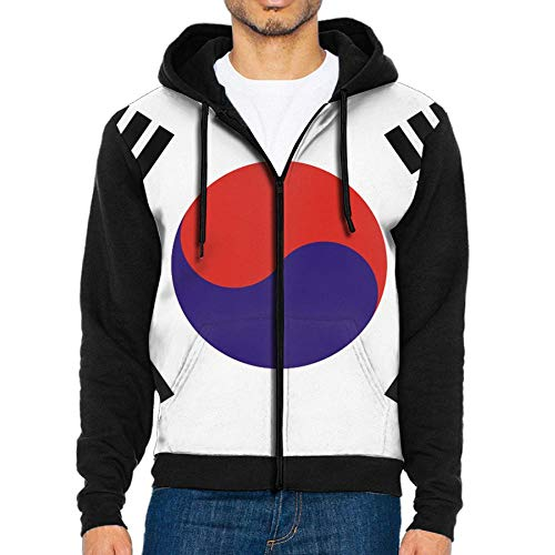 WANING MOON Men's 3D Printing South Korea Flag Sweater Zip Hoodie