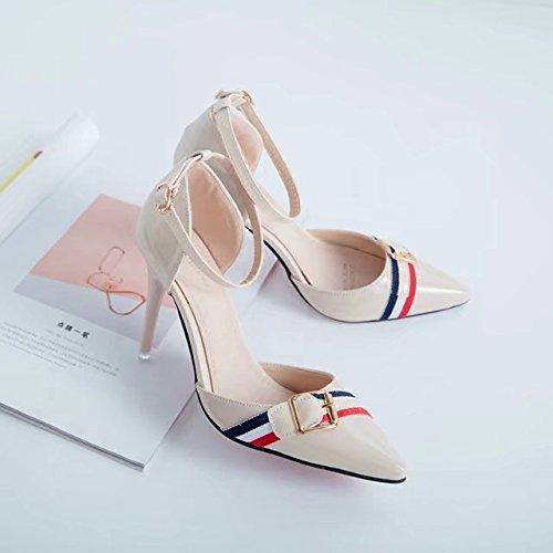 RUGAI-UE Moda Verano sandalias de tacón zapatos de mujer Beige