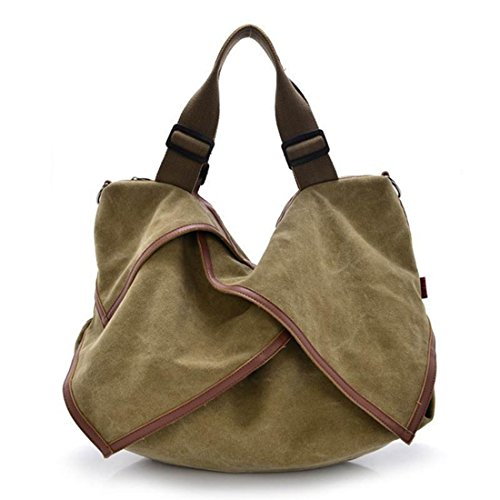 Simple Color Block Women Canvas Shoulder Bag - 5