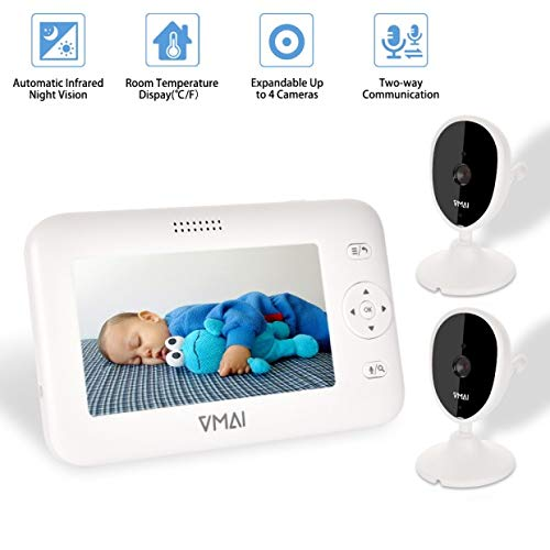 Video Baby Monitor, with Two Digital Cameras, 4.3'' Screen, Auto Night Vision, Temperature Sensor, Built-in Lullabies, 2-Way Talk, Feeding Time Alarm, Support up to 4 Cams, 1000ft Stable Transmission