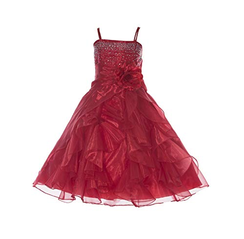 ekidsbridal Shimmering Organza Rhinestones Junior Flower Girl Dress Holy Communion J120NF 8 Red