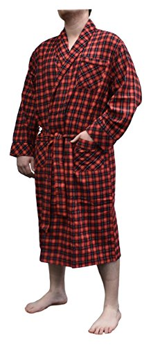 Stafford Flannel Robe (One Size Fits Most) (Red Tartan) (Stafford Flannel)