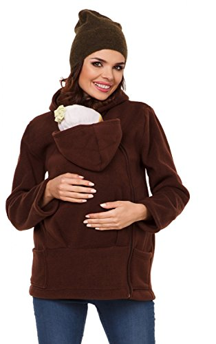 Price comparison product image Zeta Ville - Womens Top Maternity Hooded Sweatshirt Babywearing Carrier - 031c (Brown,  US 10,  XL)