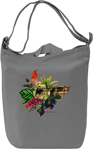 Gun and Flowers Borsa Giornaliera Canvas Canvas Day Bag| 100% Premium Cotton Canvas| DTG Printing|