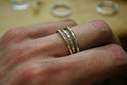 Sterling silver trio stacking bands,handmade rings two outer 14 gauge sterling silver bands with dotted sterling silver band in the center. Any size can be made. All items are wrapped for gift giving,