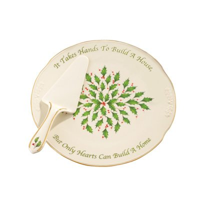 Lenox Holiday Sentiment Cake Plate With Server