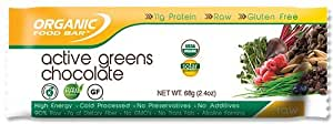 Organic Food Bar - Organic Food Bar Active Greens Chocolate, 12 bar
