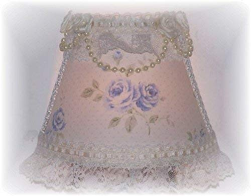 (Cottage Chic Style Light Blue Roses Night Light with Ribbon and Lace)