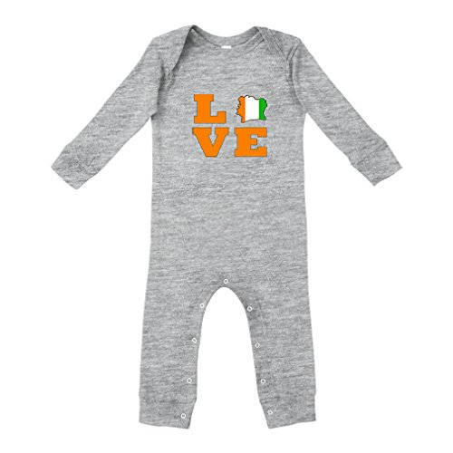 Cute Rascals Love Ivory Coast Country Flag Map Cotton Long Sleeve Envelope Neck Unisex Baby Legged Long Rib Coverall Bodysuit - Oxford Gray, - Ivory Country Flag Coast
