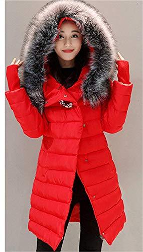Moda Piumini Invernali Giacca Di Tasche Donna Lunga Rot Pulsante Coat Estilo Especial Manica Cerniera Con Caldo Laterali Cappuccio Trench fwfrRqtCx