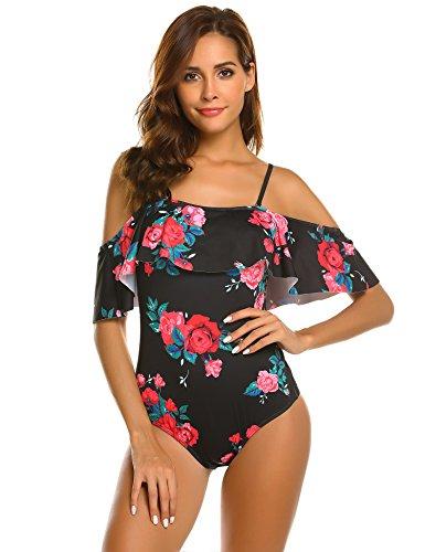 219ef46f3d4da Ekouaer Women One Piece Swimsuits Vintage Swimsuit Off Shoulder Swimwear  Flounce Ruffled Bathing Suits Monokini