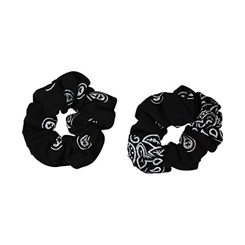 Black Bandana Scrunchies Cotton Hair Bobble - Set of 2