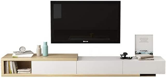 DHTOMC TV Gabinete Extra Grande Unidad TV Unidad Cabina Moderna Mueble de TV de la Consola cajones for Sala de Estar Gabinete de Madera de TV (Color : Blanco, tamaño : 230-290x33x40cm):
