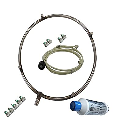 Fan Mister - Stainless Steel Misting Ring with Calcium Inhibitor Filter - Includes Misting Nozzles - Push Lock Connection - Do It Yourself