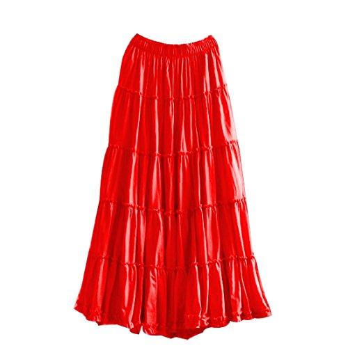 Jupe Coton Plage Maxi Jupe de Longue d't Boheme en Rouge Femme qS40ZwdWq