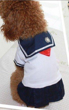 Dogloveit Cotton Japanese School Uniform Style Dress Summer Soft Clothes For Dog Cat Puppy Pet,White,Medium