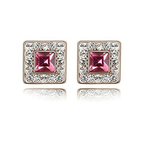 18K Gold Plated Womens Girls Earrings Square Rose Red - Aooaz Jewelry