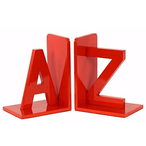 Benzara Wood Alphabet Sculpture AZ Bookend (Set of 2) One Size Red