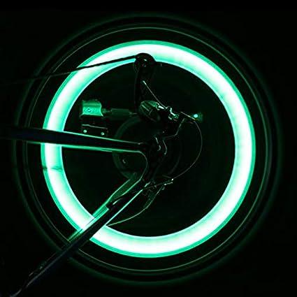 2pcs 5 LEDs Bike Bicycle Tire Valve Cap Tube Neon Lights Wheel Spoke Lamp for sale online