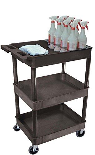 Luxor STC111H-B Multipurpose 3 Shelf Tub Cart with Bottle Holder - Gray
