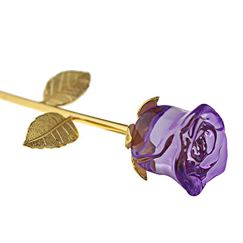 YUYIKES 9 Inches Romantic Love Forever in Bud Purple Crystal Rose Flower, Best Gift for Valentine's Day, Mother's Day, Anniversary, Birthday Gift , Home Wedding Decoration (Purple)