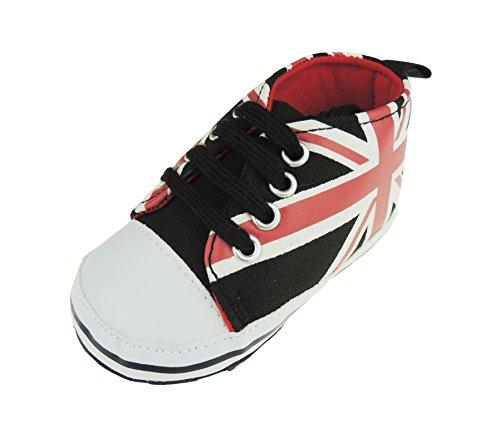 Bebé Niños Azul union jack Inglaterra cordones patucos zapatillas