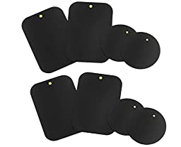 Mount Metal Plate (8 Pack) with Adhesive for Magnetic Cradle-less Mount - 4 Rectangle and 4 Round (Compatible with Magnetic mounts) (8 Pack - Black)