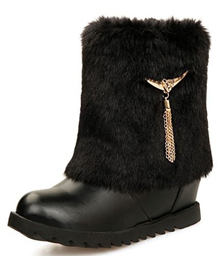 IDIFU Women's Comfy Tassels Low Wedge Heels Heighten Faux Fur Lined Winter Snow Boots Booties Black 4 B(M) US by IDIFU