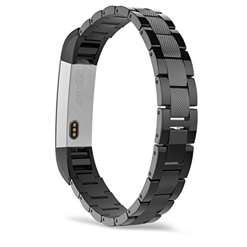 MoKo Fitbit Alta HR and Alta Band, Universal Stainless Steel Replacement Classic Watch Strap Band Bracelet with Fold Over Clasp for Fitbit Alta/Fitbit Alta HR, Tracker NOT Included - BLACK by MoKo
