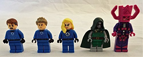 Fantastic Four Set of 5 Mini Figures Fit All Lego Playsets w/ Mr. Fantastic, Invisible Woman, Human Torch, Galactus and Dr. Doom