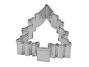 R & M C 'Mas Tree with Snow Cookie Cutter, Mini, Silver