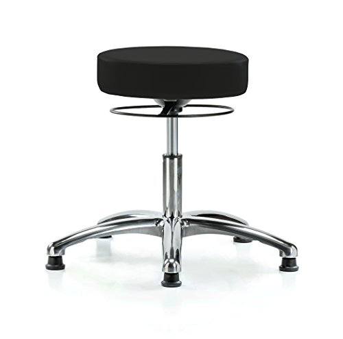PERCH Chrome Stella Stationary Height Adjustable Salon & Spa Stool | Desk Height 18.5-24 Inches | 300-Pound Weight Capacity | 12 Year Warranty (Black Fabric)