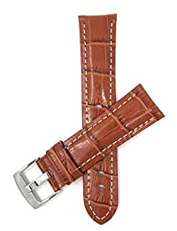 22mm Tan Mens' Alligator Style Leather Watch Band Strap, With White Stitching