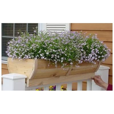 Rounded Cedar Deck Rail Planter Large: Garden & Outdoor