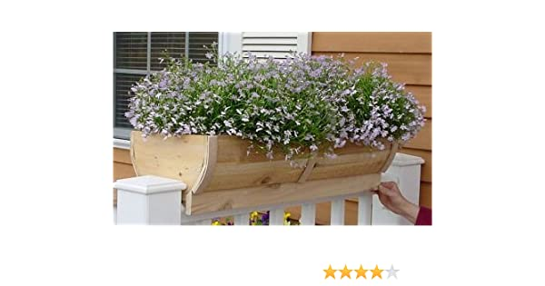 Amazon Com Rounded Cedar Deck Rail Planter Large Garden Outdoor