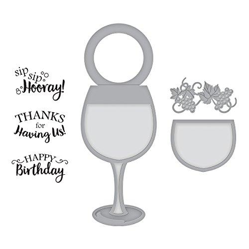 (Spellbinders Wine Glass Bottle Tag Stamp & Die Set)