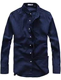Men's Casual Collared Invisible Button-Front Rolled Sleeve Linen Shirts
